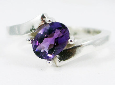 Amethyst Offset Oval Ring Sterling Silver Ring