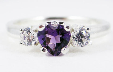 Amethyst Heart and White CZ Ring Sterling Silver