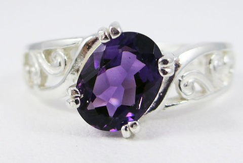 Amethyst Filigree Oval Ring Sterling Silver