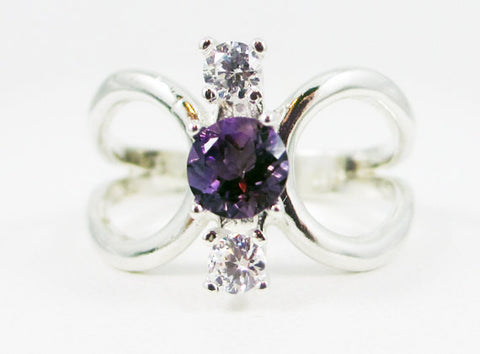 Amethyst and CZ Loop Ring Sterling Silver