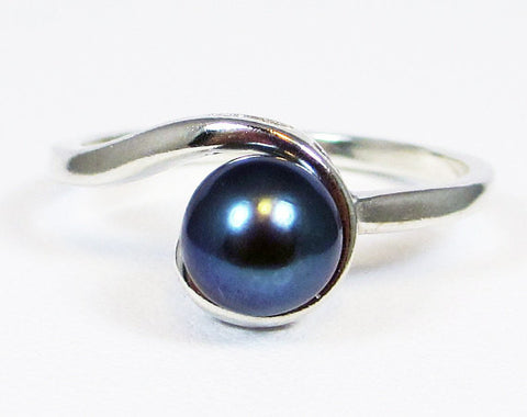 Swirly Black Pearl Ring, 925 Sterling Silver, June Birthstone Ring, Black Pearl Ring, Genuine Natural Freshwater Pearl Ring