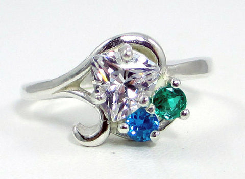 Cubic Zirconia and Emerald Ring Sterling Silver, Mother's Ring, Sterling Silver Mother's Ring, Silver Emerald Ring, 925 Ring