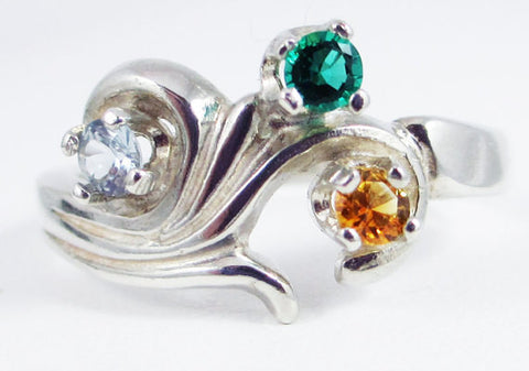 Aquamarine, Citrine, and Emerald Mothers Ring Sterling Silver, Mother's Ring, Sterling Silver Mother's Ring, Emerald Ring, Citrine Ring