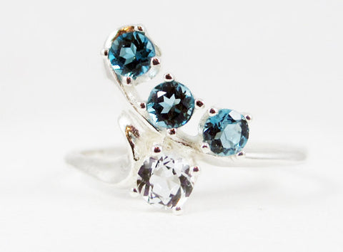 Aquamarine and London Blue Topaz Ring Sterling Silver .925, Mother's Ring, Sterling Silver Mother's Ring, Four Stone Ring