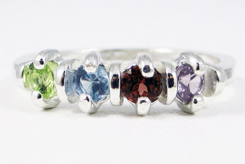 Alexandrite, Peridot, Aquamarine, and Garnet Mother's Ring Sterling Silver