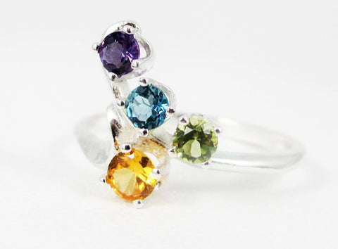 Yellow Sapphire, Amethyst, London Blue Topaz, Peridot Ring .925, Mother's Ring, Sterling Silver Mother's Ring, Four Stone Ring