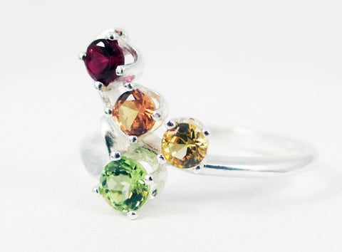 Peridot, Ruby, Yellow and Orange Sapphire Ring Sterling Silver, Mother's Ring, Sterling Silver Mother's Ring, Four Stone Ring, Sapphire Ring