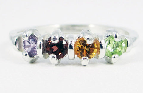 Peridot, Citrine, Garnet, and Alexandrite Mother's Ring Sterling, Mother's Ring, Sterling Silver Mother's Ring, Four Stone Ring, 925 Ring