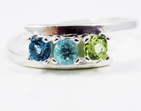 London Blue Topaz, Apatite, and Peridot Ring Sterling Silver, Mother's Ring, Sterling Silver Mother's Ring, Three Stone Ring, 925 Ring