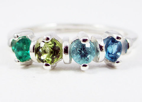 Emerald, Peridot, Apatite, and Blue Topaz Ring Sterling Silver, Mother's Ring, Sterling Silver Mother's Ring, Four Stone Ring