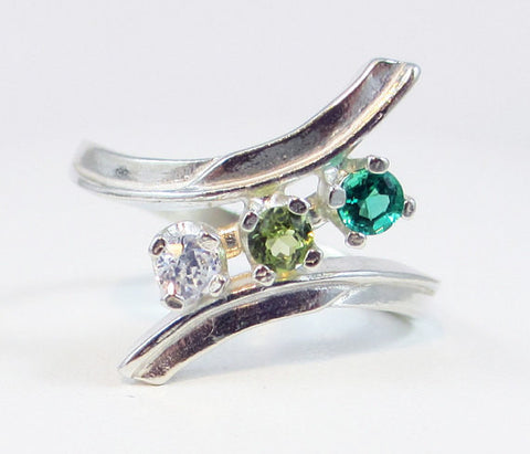 Emerald, Peridot, and CZ Ring Sterling Silver, Mother's Ring, Sterling Silver Mother's Ring, 925 Ring