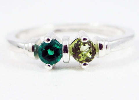 Emerald and Peridot Two Stone Ring Sterling Silver, Mother's Ring, Sterling Silver Mother's Ring, May and August Birthstone Ring