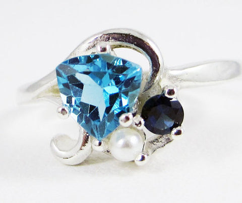 Blue Topaz, Blue Sapphire, and Pearl Ring Sterling Silver, Mother's Ring, Sterling Silver Mother's Ring, Pearl Ring, Blue Sapphire Ring