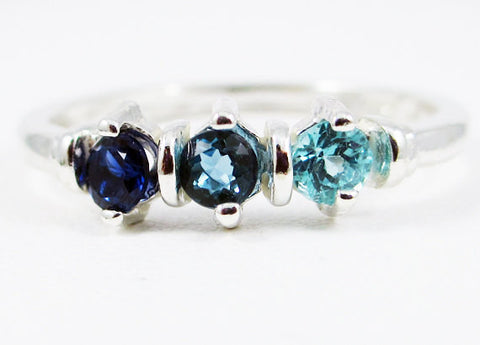 Blue Sapphire, London Blue Topaz, Apatite Ring Sterling Silver, Mother's Ring, Sterling Silver Mother's Ring, Three Stone Ring