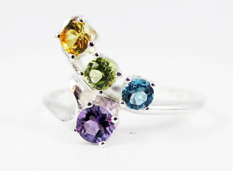 Amethyst, Sapphire, Peridot, Blue Topaz Ring Sterling Silver