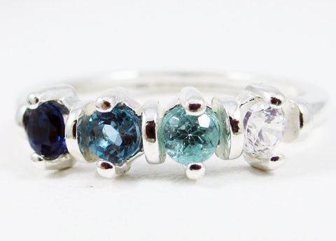 Sapphire, London Blue Topaz, Apatite, CZ Ring Sterling Silver, Mother's Ring, Sterling Silver Mother's Ring, Four Stone Ring, 925 Ring
