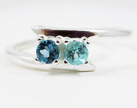 London Blue Topaz and Apatite Two Stone Ring Sterling Silver, Mother's Ring, Sterling Silver Mother's Ring, Two Stone Ring, 925 Ring