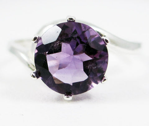 Amethyst Bypass Solitaire Ring Sterling Silver