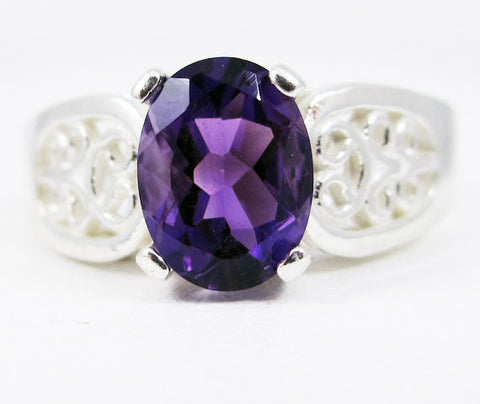 Amethyst Oval Filigree Ring 925 Sterling Silver