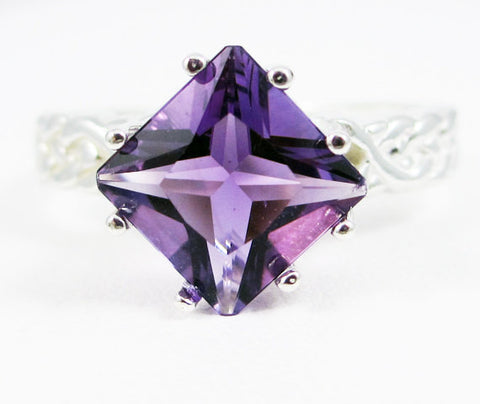 Square Amethyst Braided Ring Sterling Silver