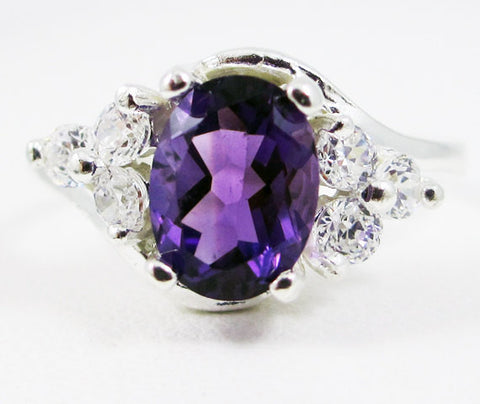 Amethyst Oval and White CZ Accent Swirl Ring Sterling Silver