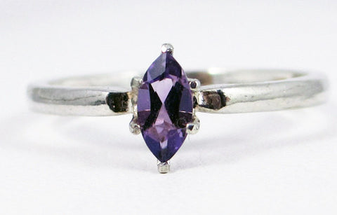 Amethyst Marquis Ring Sterling Silver