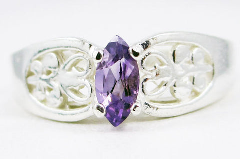 Amethyst Marquis Filigree Ring Sterling Silver
