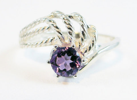 February Birthstone Ring Sterling Silver, Amethyst