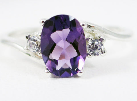 Sterling Silver Amethyst Oval and CZ Accent Ring, 925 Sterling Silver, February Birthstone Ring, Amethyst Oval Accent Ring