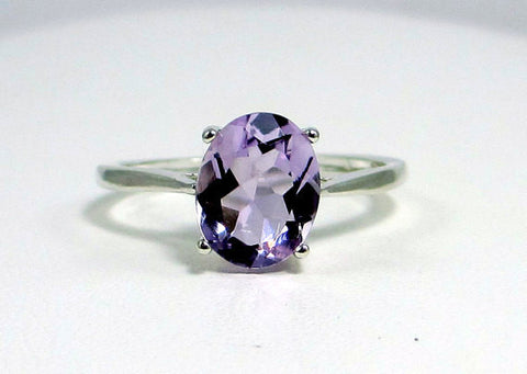 Lavender Amethyst Ring, 925 Sterling Silver, February Birthstone Ring, Lavender Amethyst Oval Ring, Sterling Silver Amethyst Ring