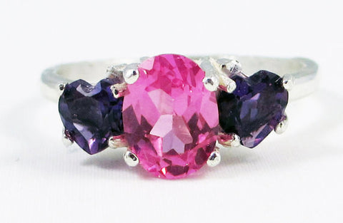 Amethyst Heart and Pink Sapphire Ring Sterling Silver