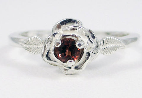 Garnet Rose Ring Sterling Silver, January Birthstone Ring, 925 Garnet Ring, Sterling Garnet Ring, Garnet Rose Ring, Sterling Silver Rose