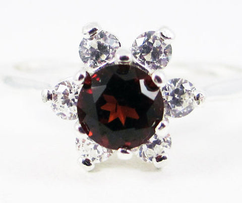 Garnet Halo Ring Sterling Silver, January Birthstone Ring, Red Garnet Ring, Sterling Silver Ring, Garnet Halo Ring