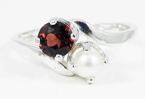 Garnet and Pearl Ring Sterling Silver, January Birthstone Ring, June Birthstone Ring, Garnet Pearl Ring, Two Stone Ring, Mother's Ring