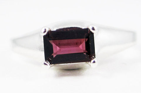 Rhodolite Garnet Ring Sterling Silver, January Birthstone Ring, Purple Garnet Ring, 925 Garnet Ring, Emerald Cut Ring