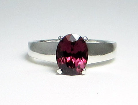 Rhodolite Garnet Oval Ring Sterling Silver, January Birthstone Ring, Oval Garnet Ring, Purple Garnet Ring, Sterling Silver Ring