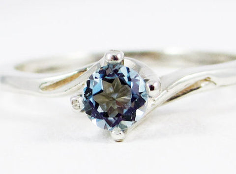 Aquamarine Twist Ring, 925 Sterling Silver, March Birthstone Ring, 925 Ring, Natural Aquamarine, Sterling Silver Twist Ring