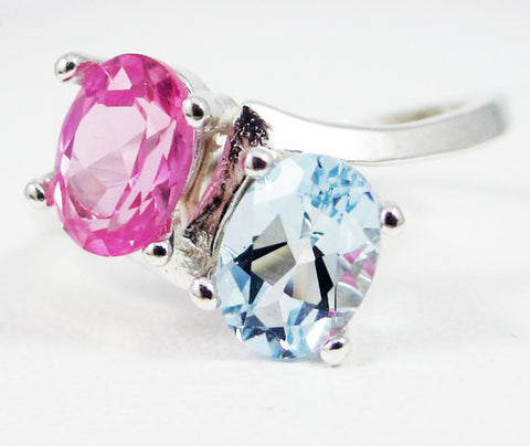 Aquamarine and Pink Sapphire Double Oval Ring, 925 Sterling Silver, March Birthstone Ring, Two Stone Oval Ring, Mother's Ring, Pink Sapphire