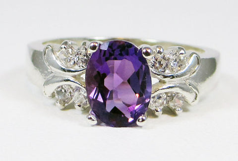 Oval Amethyst Ring, 925 Sterling Silver Ring, February Birthstone Ring, Engagement Ring, Amethyst Engagement Ring, Sterling Amethyst Ring