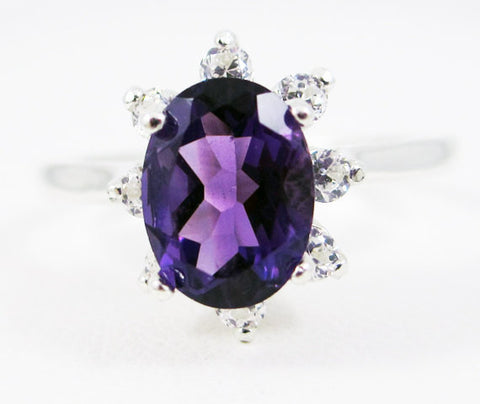Amethyst Oval Halo Ring Sterling Silver