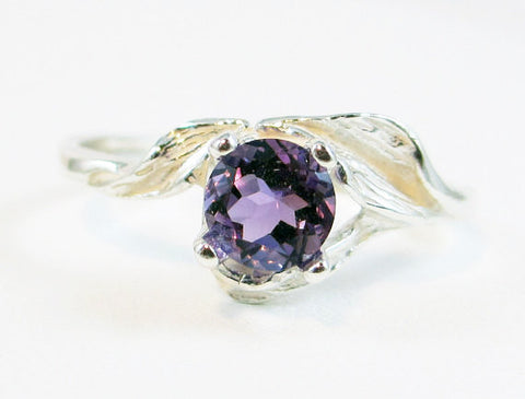 Amethyst Leaf Ring Sterling Silver