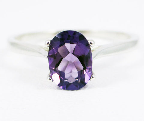 Amethyst Oval Solitaire Ring Sterling Silver
