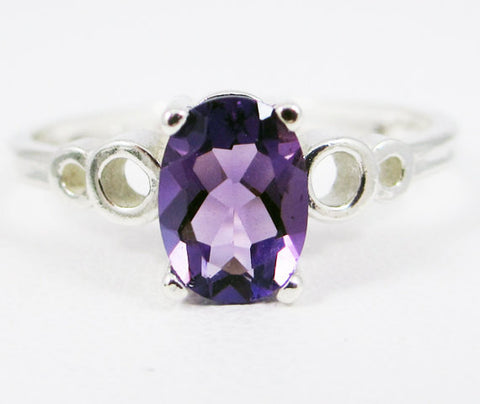 Amethyst Oval Bubble Ring Sterling Silver