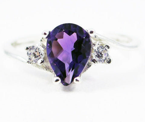 Amethyst Pear CZ Accented Ring, 925 Sterling Silver, February Birthstone Ring, Amethyst Pear Ring, Sterling Pear Ring, Purple Amethyst Stone