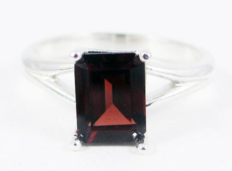 Garnet Emerald Cut Ring Sterling Silver, January Birthstone Ring, Sterling Garnet Ring, Emerald Cut Ring, Red Garnet Ring