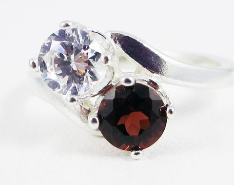 Garnet and White CZ Two Stone Ring Sterling Silver, January Birthstone Ring, Sterling Silver Ring, 925 Garnet Ring, Red Garnet Ring
