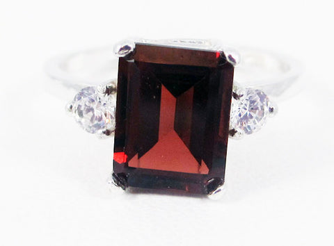 Garnet and White CZ Emerald Cut Ring Sterling Silver, January Birthstone Ring, Mozambique Garnet Ring, Sterling Garnet Ring
