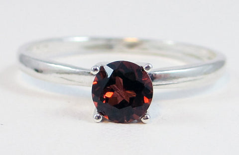 Sterling Garnet Solitaire Ring, January Birthstone Ring, Sterling Silver Ring, 925 Ring, Garnet Solitaire Ring