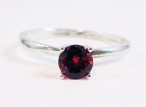 Ruby Solitaire Ring, 925 Sterling Silver, July Birthstone Ring, 925 Ruby Ring, Sterling Silver Solitaire Ring