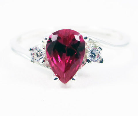 Ruby Pear CZ Accented Ring, 925 Sterling Silver, July Birthstone Ring, Ruby Pear Ring, White CZ Accent Ring, 925 Ruby Pear Ring